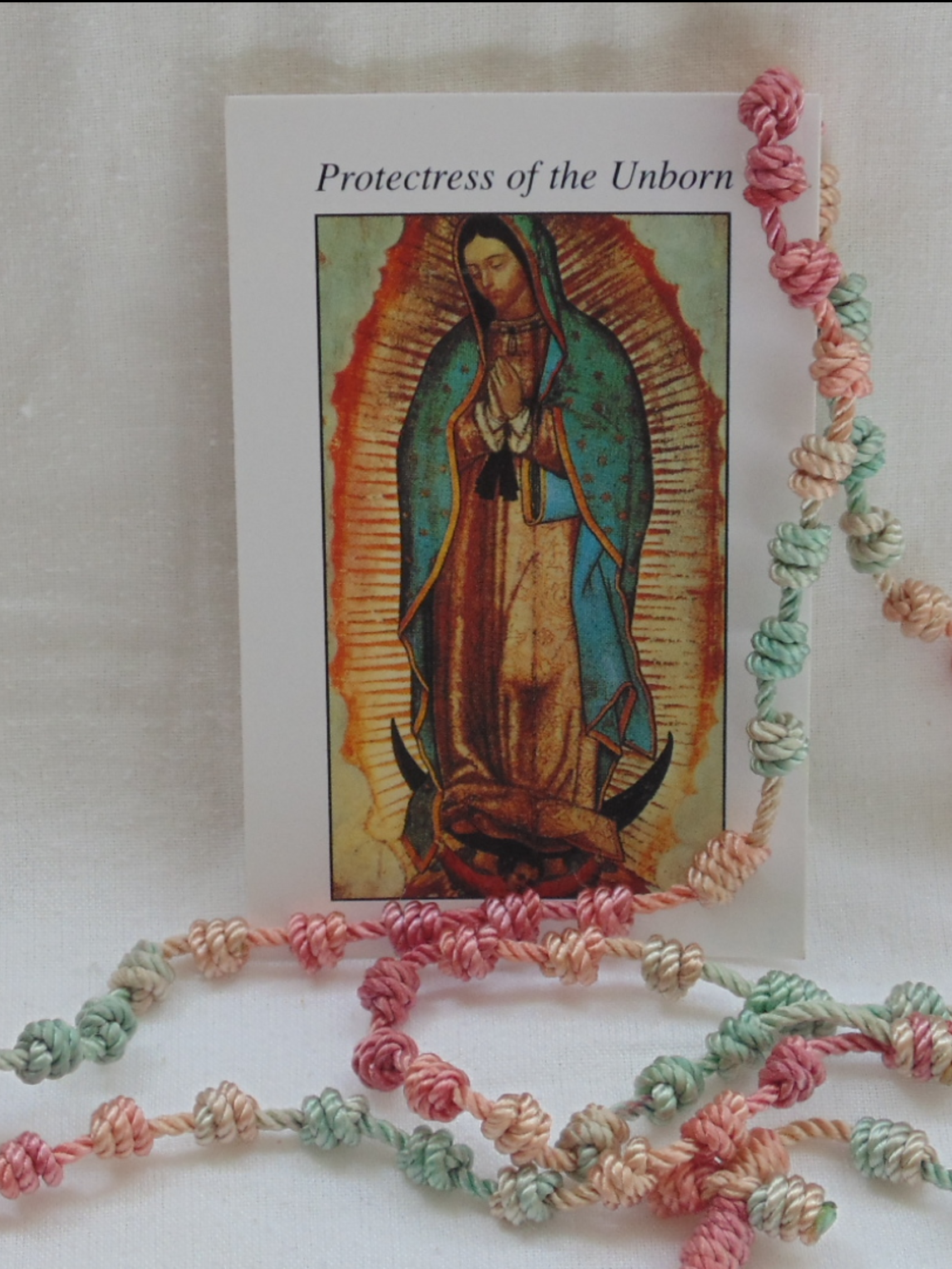 Protectress of the Unborn Prayer Card and Rosary